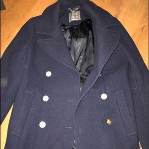 "J Crew ""Stadium Jacket"" Pea Coat 4 EUC NAVY"